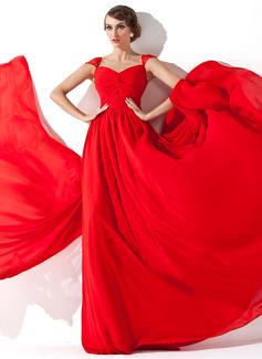 A-لاين أميرة V عنق واتو تراين Chiffon فستان سهرة مع كشكش مطرز بالخرز
