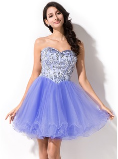 A-Line/Princess Sweetheart Short/Mini Organza Tulle Charmeuse Prom Dress With Beading