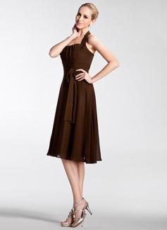 Empire Halter Knee-Length Chiffon Bridesmaid Dress With Ruffle