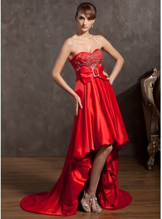 A-Line/Princess Sweetheart Asymmetrical Charmeuse Holiday Dress With Beading