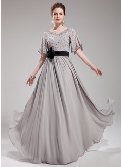 Vestidos princesa/ Formato A Decote V Vestidos longo Chiffon Charmeuse Vestido de festa com Sash Bordado fecho de correr Lantejoulas (017019724)