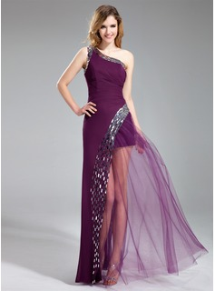 A-Line/Princess One-Shoulder Floor-Length Chiffon Prom Dress With Sequins