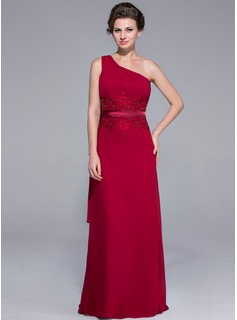 Sheath/Column One-Shoulder Sweep Train Chiffon Charmeuse Mother of the Bride Dress With Lace Beading Sequins