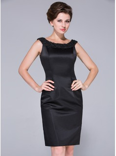 Sheath Off-the-Shoulder Knee-Length Satin Mother of the Bride Dress With Beading