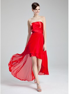 A-Line/Princess Strapless Asymmetrical Chiffon Charmeuse Homecoming Dress With Ruffle