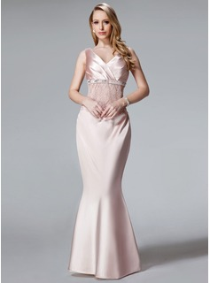 Trumpet/Mermaid V-neck Floor-Length Charmeuse Mother of the Bride Dress With Ruffle Lace Sequins