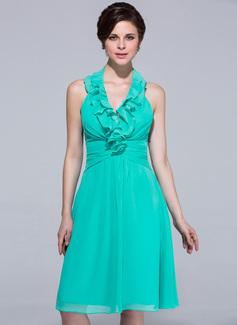 Çan/Prenses Yular Diz Hizası Chiffon Nedime Elbisesi