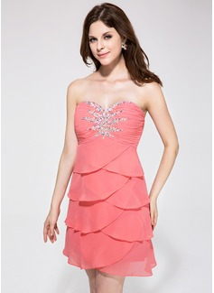 Empire Sweetheart Short/Mini Chiffon Homecoming Dress With Beading
