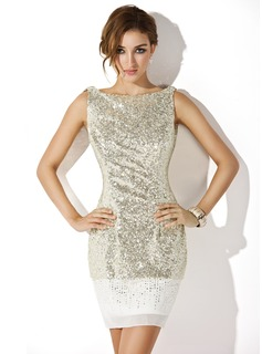 Sheath Scoop Neck Short/Mini Chiffon Sequined Cocktail Dress