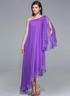 A-Line/Princess One-Shoulder Asymmetrical Chiffon Evening Dress