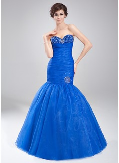 Trumpet/Mermaid Sweetheart Floor-Length Organza Prom Dress With Ruffle Beading