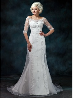 Mermaid Off-the-Shoulder Court Train Organza Satin Wedding Dress With Lace Beadwork