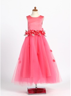 A-Line/Princess Satin/Tulle With Beading/Flower(s)/Bow(s)
