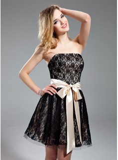 A-Line/Princess Strapless Short/Mini Charmeuse Lace Homecoming Dress With Sash Bow(s)