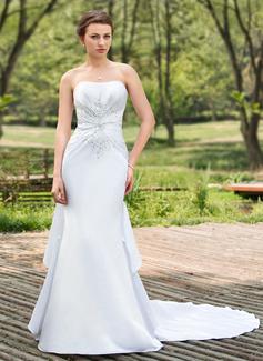 Trumpet/Mermaid Sweetheart Chapel Train Satin Wedding Dress With Beading Sequins Cascading Ruffles