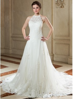 A-Line/Princess Halter Court Train Tulle Wedding Dress With Lace Beadwork Sequins