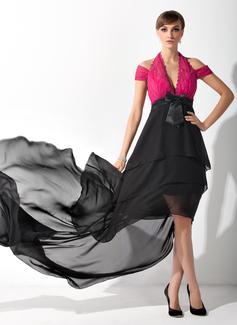 Linia A/Księżniczka Kantar Asymetryczna Chiffon Charmeuse Lace Suknia dla Mamy Panny Młodej