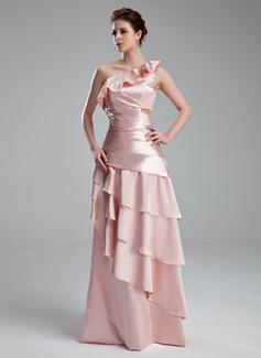 A-Linie/Princess-Linie One-Shoulder-Träger Bodenlang Charmeuse Abendkleid mit Gestufte Rüschen