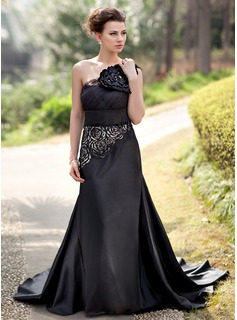 Trumpet/Mermaid One-Shoulder Court Train Tulle Charmeuse Evening Dress With Flower(s) Sequins