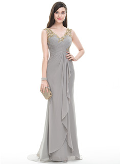 A-Line/Princess V-neck Sweep Train Chiffon Evening Dress With Ruffle Beading Sequins