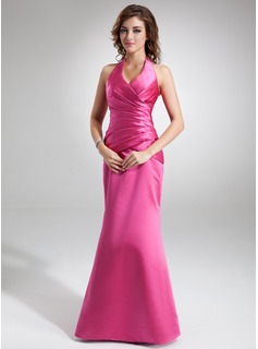 Mermaid Halter Floor-Length Satin Holiday Dress With Ruffle