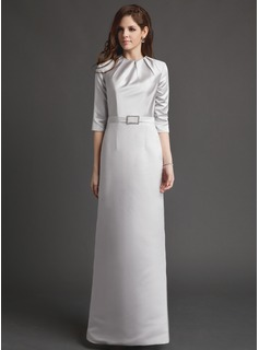 Sheath/Column Scoop Neck Floor-Length Satin Mother of the Bride Dress With Ruffle Crystal Brooch