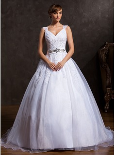 Ball-Gown V-neck Court Train Organza Satin Wedding Dress With Ruffle Lace Beading