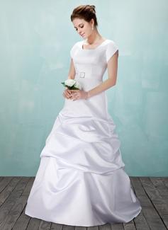 Corte A/Princesa Escote Cuadrado Hasta el suelo Satén Vestido de novia con Volantes Alfiler Flor Cristal