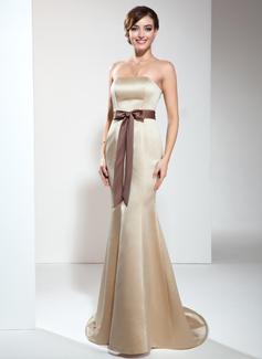 Trumpet/Mermaid Strapless Sweep Train Satin Bridesmaid Dress With Sash Bow(s)