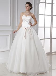 Corte de baile Escote corazón Hasta el suelo Satén Organdí Vestido de novia con Fajas Lazo(s)