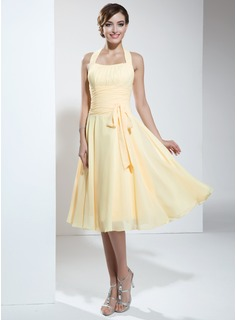 A-Line/Princess Halter Tea-Length Chiffon Homecoming Dress With Ruffle (022003360)