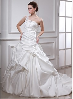 Ball-Gown One-Shoulder Chapel Train Satin Wedding Dress With Ruffle Lace Beadwork Flower(s)