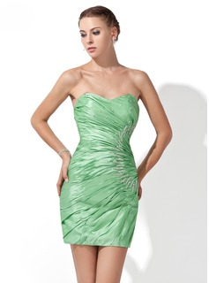 Sheath/Column Sweetheart Short/Mini Taffeta Cocktail Dress With Ruffle Beading