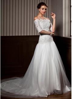 Corte A/Princesa Estrapless Cola capilla Tul Vestido de novia con Volantes Encaje Bordado