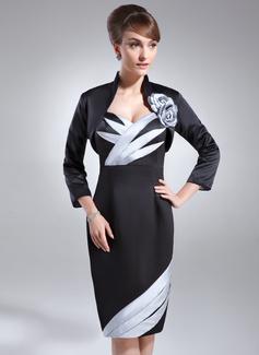 Sheath/Column Sweetheart Knee-Length Satin Mother of the Bride Dress With Ruffle Beading