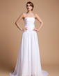 A-Line/Princess Strapless Court Train Chiffon Wedding Dress With Ruffle Flower(s) (002014494)