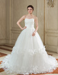 Ball-Gown Sweetheart Chapel Train Tulle Wedding Dress With Ruffle Flower(s) (002000577)