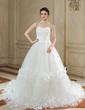 Balo Elbisesi Kalp Kesimli Şapel Kuyruk Tulle Gelinlik Ile Büzgü Çiçek(ler) (002000577)