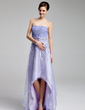 A-Line/Princess Sweetheart Asymmetrical Organza Prom Dress With Beading (018018999)