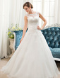 Ball-Gown Scoop Neck Sweep Train Organza Tulle Wedding Dress With Beading Sequins (002054358)