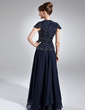 A-Line/Princess V-neck Floor-Length Chiffon Mother of the Bride Dress With Beading (008005936)