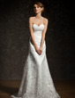 A-Line/Princess Sweetheart Court Train Lace Wedding Dress With Ruffle (002012909)