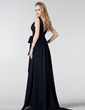 Empire V-neck Sweep Train Chiffon Bridesmaid Dress With Ruffle Bow(s) (007005181)