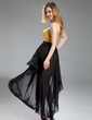 Sheath/Column Strapless Asymmetrical Detachable Chiffon Sequined Evening Dress (017019580)