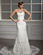 Trumpet/Mermaid Sweetheart Chapel Train Tulle Lace Wedding Dress With Pleated (002012605)
