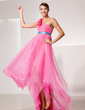 Empire One-Shoulder Asymmetrical Organza Prom Dress With Sash Flower(s) (018014472)