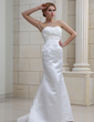 Trumpet/Mermaid Sweetheart Sweep Train Satin Wedding Dress With Ruffle Beading (002011680)