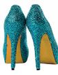 Leatherette Stiletto Heel Pumps Platform Closed Toe With Rhinestone shoes (085026499)