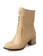 Suni deri Kalın Topuk Ayak bileği Boots Ile Bağcıklı ayakkabı (088056556)