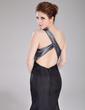 Denizkızı Tek-Omuzlu Uzun Etekli Taffeta Mezuniyet Elbisesi Ile Büzgü Boncuklama (018005107)